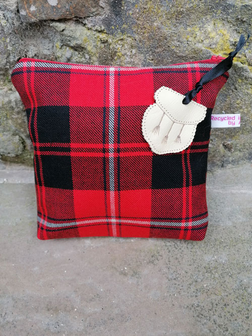 Bag: Red Tartan, red zip with cream leather sporran tag