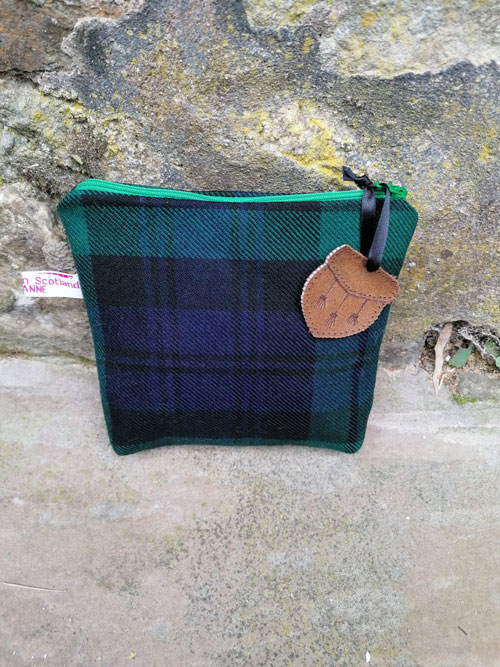 Bag: Tartan, recycled with bright green zip. Hand sewn in Aberlady
